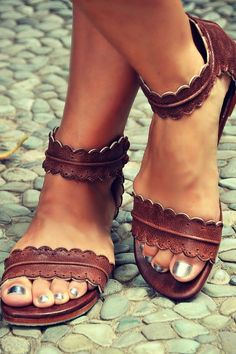 Stitch fix spring summer 2016.  Brown leather laser cut sandals. Flat sandal.