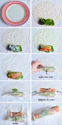 step by step spring rolls with smoked salmon Chefs, Healthy Cooking, Healthy Recipes, Healthy Food, Peanut Dipping Sauces, New Years Dinner, Sushi Party, Bowl Cake, Snack Bowls