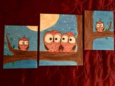 """""""Owl Family"""" 🦉 Acrylic Painting created by me"""