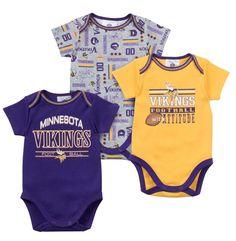 9559a22a3 Vikings Baby 3 Piece Bodysuit Set Minnesota Vikings Football