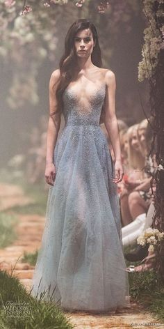 paolo sebastian spring 2018 couture sleeveless v neck heavily embellished bodice elegant blue color modified a line wedding dress (23) mv -- Paolo Sebastian Spring 2018 Couture Collection