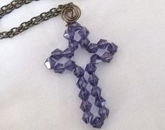 Browse unique items from PraiseAndPromises on Etsy, a global marketplace of handmade, vintage and creative goods. Beaded Cross, Scripture Art, Crosses, Cord, Crochet Necklace, Etsy Seller, Arts And Crafts, Christian, Creative