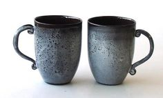 Mugs, in my lovely black clay