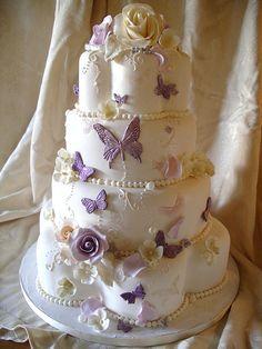 Butterflies & Pearls wedding cake by nice icing, via Flickr
