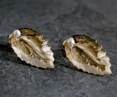 Gold Pearl Stud Earrings Gold Leaf Stud Earrings by gazellejewelry, $32.00