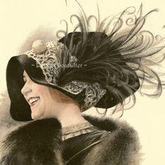 Paris Ladies Hat Fashion Plates La Belle Epoque French Millinery 1911