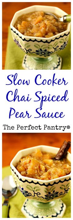 Slow cooker chai-spiced pear sauce: better than apple sauce, and easy in the crockpot! #vegan