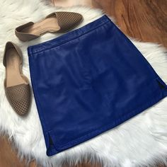 Rebecca Minkoff Leather mini skirt Blue leather skirt. Lined. Offers welcome through offer tab. No trades. 33016391 Rebecca Minkoff Skirts Mini