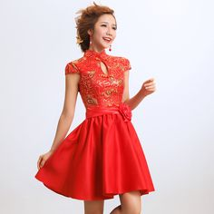 The bride married cheongsam dress vintage red chinese style formal dress short design evening dress 01-in Cheongsams from Apparel & Accessories on Aliexpress.com