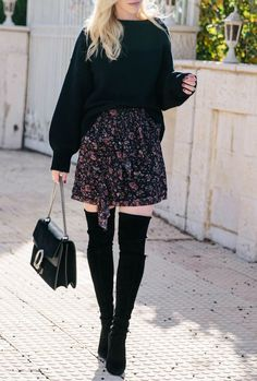 4c78f1b6beb Flirty Ruffled Skirt OutFit   My YouTube Channel Launch. Chic Winter  OutfitsFall OutfitsOver The Knee Boot ...