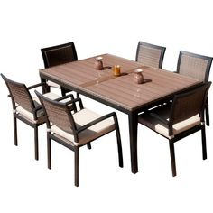 Superior RST Outdoor OP ALTS7 ZEN Dining Set Patio Furniture, 7 Piece By