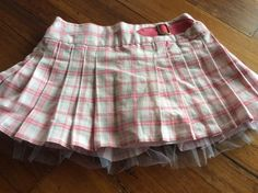 brand new without tags dymples pleated tulle skirt baby girl size 0 pink checks