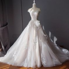 Lace Bridal Ball Gown with Train,A Line Wedding Dress with Tulle,Custom Made Prom Dress,JD 37