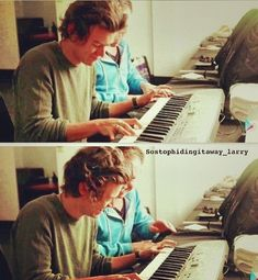 Harry learning to play the piano is the cutest thing♡