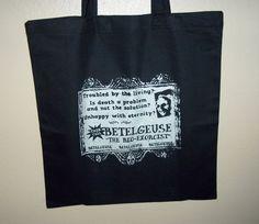 Beetlejuice Tote Bag - Betelguese reuseable bag - horror accessories by kreepshowkouture on Etsy