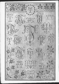 Cross stitch monograms, borders and ornaments, some in Art Nouveau style.   (visit site for bigger picture)  Gracieuse. Geïllustreerde Aglaja, 1912, aflevering 2, pagina 16