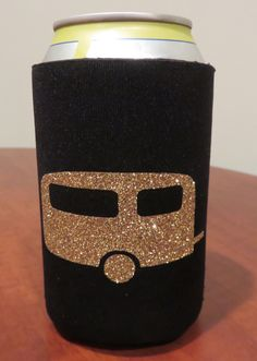 Foam koozie with glitter trailer! Perfect for keeping your beer cold while camping, glamping or RV'ing!
