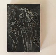 Vintage Letterpress Printers Block Printing Plate ~ 2 Sexy Curvy Girls Bikinis #Unknown