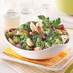 Broccoli Salad with Chicken and Grapes – Weekend Suppers – Recipes – Express Recipes – Pratico Pratique Salade de brocoli au poulet et raisins Supper Recipes, Great Recipes, Skinny Recipes, Healthy Recipes, Healthy Food, Vinaigrette Salad Dressing, Broccoli Salad, Broccoli Chicken, Chicken Salad