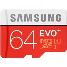 Samsung EVO Plus Class 10 Micro SDXC with Adapter Get the most out of your smartphone or tablet PC with Samsung's EVO 64 GB microSD Evo, Speed Writing, Chip Company, Smartphone, Flash Memory, Card Reader, Sd Card, Brand Names, Cards