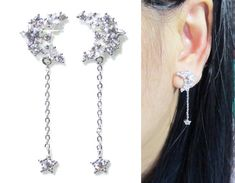 Clip-ons, CZ Star Moon Cluster, Wedding clip on earrings, Bridal Dangle Crystal Clip on, Silver Rhinestone Clip on Non pierced earrings Bridesmaid Earrings, Wedding Earrings, Clip On Earrings, Women's Earrings, Pierced Earrings, 925 Silver, Silver Rings, Wedding Clip, Silver Chain Necklace