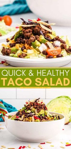 45 minutes · Serves 6 · Find yourself making this healthy dinner idea on repeat! Your family will love this easy taco salad recipe with ground beef and veggies. Let everyone build their own salad with their choice of add-ins… Easy Weeknight Dinners, Quick Easy Meals, Easy Dinner Recipes, Easy Recipes, Healthy Tacos, Healthy Recipes, Delicious Recipes, Easy Taco Salad Recipe, Clean Eating Salads