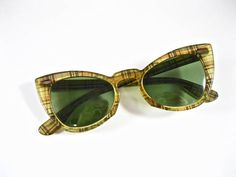 f62b4e5c331d3 Ray-Ban vintage cat eye sunglasses. yellow plaid thatched Prescription  Lenses