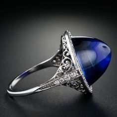 Edwardian Gem Cabochon Sapphire and Diamond Ring.