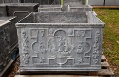 Large square decorative planter with central ship motif and a pair dolphins with 2 shells above. Based on the 1757 original. This could also be a cistern or fountain basin.Currently no drainage holes but could be added for planter use. Panels are originally from a small distinctive 18th Century cistern design. This design could be made into a round cistern or planter. See our Ship Tub or Ship Planter for more detail. Imported from England. To learn about the history of English lead ornamentatio Metal Trough, Metal Tub, Stone Bowl, Stone Sink, Decorative Planters, Large Planters, Garden Ornaments For Sale, Stone Farms, Iron Garden Gates