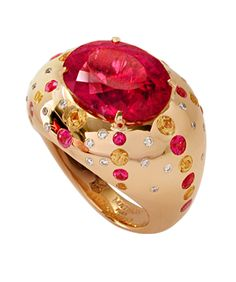 Mathon Paris 'Circé' ring in Red gold with Diamonds, Rubellite and Pink sapphires