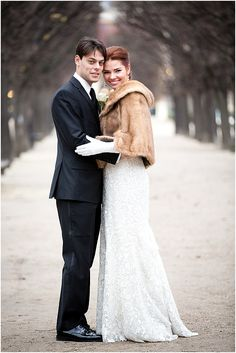 An enchanting winter wedding in Paris calls for a chic stole.
