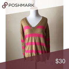 GAP Striped V Neck Sweater Excellent condition, no flaws. Open to reason offers, bundle offers encouraged. GAP Sweaters