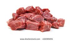 Raw casserole or stewing beef diced.