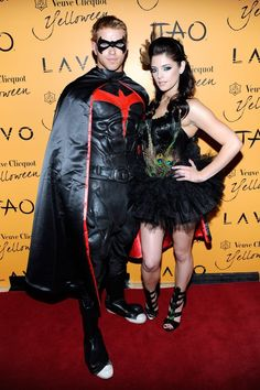 Kellan Lutz showed off his muscles in a Batman suit and his Twilight costar Ashley Greene was sexy in feathers as they cohosted a Vegas Halloween celebration in Celebrity Couples, Celebrity Gossip, Celebrity Photos, Celebrity News, Kellan Lutz, Cute Celebrities, Celebs, Halloween Costumes Pictures, Ashley Green
