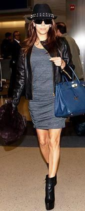 Who made Eva Longoria's gray dress, black boots and blue handbag that she wore at LAX airport on November 20, 2011? Dress – Express  Shoes – Christian Louboutin  Purse – Hermes