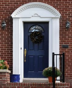 Feng Shui.  Blue doors represent trust, loyalty and stability. The color blue is often linked with thoughts and feelings of safety and security. If your home is a safe haven, painting your front door blue can reflect that. The deeper the blue color, the more you reflect that feeling of stability for your home's curb appeal.