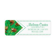 Red Panda & Bamboo Leaves Pattern Label - diy cyo customize create your own personalize