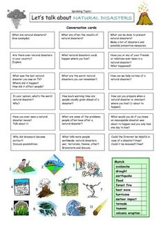 Natural Disasters unit conversation cards