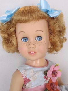 RARE CHATTY CATHY Blonde Soft Face Bob GLASSINE EYES TALKS FREE SHIPPING #Mattel #DollswithClothingAccessories
