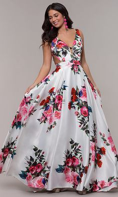 Shop long white a-line floral-print prom dresses with side cut outs at PromGirl. Long Jovani sleeveless v-neck prom dresses with open v-backs and floral prints. Long Prom Gowns, A Line Prom Dresses, Formal Dresses, Dress Prom, Wedding Dresses, Glamour Moda, Moda Floral, Jovani Dresses, Designer Evening Dresses