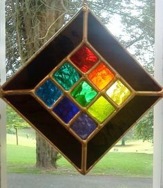 Jewel Gorgeous Rainbow Stained Glass by pewtermoonsilver on Etsy