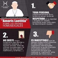 Te presentamos esta infografía que resume lo dicho por el Papa #Francisco sobre las uniones entre personas homosexuales en su Exhortación Apostólica Amoris Laetitia. #matrimonio #familia