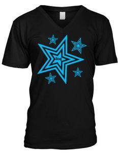 Neon Blue Sexy Stars Mens V-Neck T-shirt, Hot Trendy Mens V-neck Star Tee Shirt, X-Large, Black