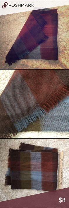 earth tone wool scarf Brick red, sky blue, olive green and chocolate brown. Accessories Scarves & Wraps