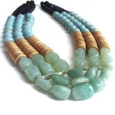 Image of SEAFOAM Gemstone Jewelry, Beaded Jewelry, Jewelry Necklaces, Beaded Earrings, Beaded Bracelets, J Necklace, Coral, Bohemian Necklace, Body Jewellery