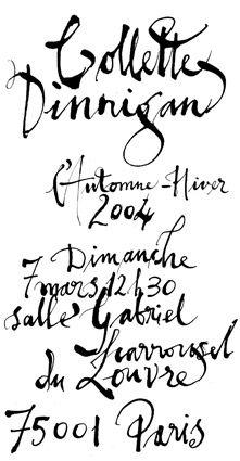 Collette Dinnigan 2004 invitation lettering