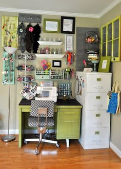 50 Amazing and Practical Craft Room Design Ideas and Inspirations - Corner sewing desk and wall organization for sewing supplies