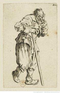gueux | Les gueux ]. [19], [Le gueux appuyé sur son bâton] : [estampe ... Rembrandt Drawings, Jacques Callot, Comic Tattoo, Merian, Drawing Studies, Medieval Art, Historical Maps, Old Master, Vintage Wall Art