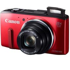 """RED HOT Canon PowerShot SX280 HS Digital Camera, 12.1MP, 20x Optical Zoom, 4x Digital Zoom, Full HD 1080p Video Capture, 3.0"""" LCD Monitor, WIFI and geotag capability for my social media uploading made easy"""