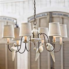put a bird on it // Small 6 Light Rusted Arm Antique Chandelier with Doves by Regina Andrew 405-583